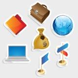 企业图标集合贴纸 免版税库存图片