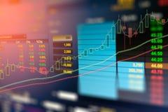 企业图表和投资贸易显示器的图象在金子贸易,股市,未来市场行情,石油市场的 免版税库存图片