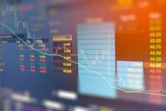 企业图表和投资贸易显示器的图象在金子贸易,股市,未来市场行情,石油市场的 免版税图库摄影