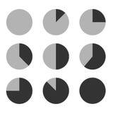 企业图表图图设计介绍的象集合,在单音口气的圆形统计图表 免版税库存照片