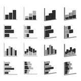 企业图表图图设计介绍的象集合,在单音口气的长条图 免版税库存图片