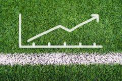 企业图表在足球场草的手图画 免版税图库摄影
