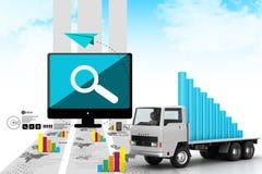 企业图表的运输在卡车的 库存图片