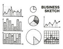 企业图表被设置的剪影传染媒介例证 免版税库存图片