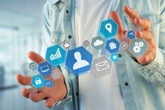 企业在一个未来派接口显示的网络应用 库存照片