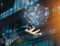 企业在一个未来派接口显示的网络连接 免版税库存图片