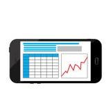 企业在一个黑智能手机屏幕上的infographics图象 免版税库存照片