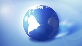 企业地球 蓝色光亮的透明地球 全世界 圈动画 皇族释放例证