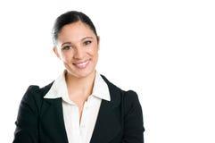 企业复制纵向微笑的空间妇女 免版税库存照片