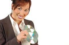 企业多媒体微笑的妇女 免版税库存照片