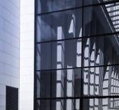 企业大厦的门面的细节在法兰克福,德语 免版税库存照片