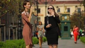 年轻企业夫人显示一个房地产对象的窗口给她的客户在公园 股票录像