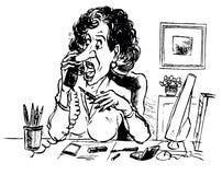 企业夫人电话联系 免版税库存图片