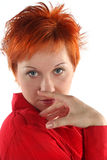 企业头发的红色妇女 库存图片