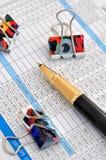企业夹子单据编号笔 免版税库存照片