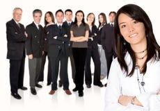 企业女孩主导的小组工作 库存照片