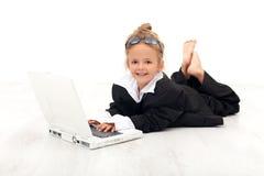 企业女孩小使用的妇女 免版税库存照片