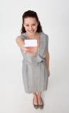 企业女实业家看板卡藏品白色 免版税库存图片