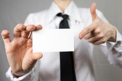 企业女实业家看板卡藏品 嘲笑 复制空间 免版税库存图片