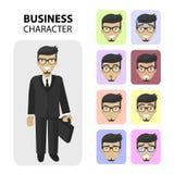 企业字符 不同的情感面孔,外形生动描述平的象,具体化s 时髦胡子和玻璃 库存照片