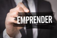 企业家用在一个概念性图象的西班牙语 免版税库存图片