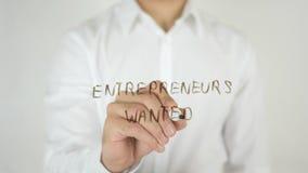 企业家被要,写在玻璃 免版税库存照片