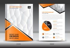 企业小册子在A4大小,橙色盖子设计的飞行物模板 皇族释放例证