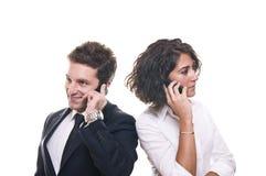 企业小组联系在电话在会议上 库存图片