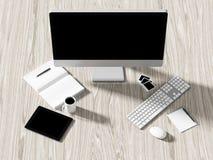 企业工作场所设置桌的大角度看法  免版税库存图片