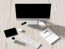企业工作场所设置桌的大角度看法  库存图片