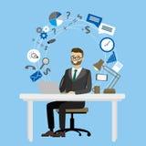 企业工作场所,坐在桌上和工作在的男性在 图库摄影