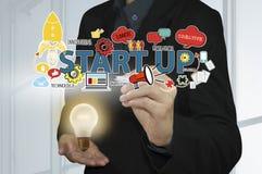 企业工作者开始工作以电灯泡 概念新的想法 图库摄影
