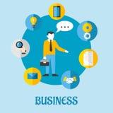 企业平的构思设计 免版税库存照片