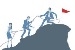 企业平的设计传染媒介以上升的领导帮助的同事在山顶部 库存例证