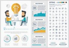 企业平的设计Infographic模板 免版税库存照片