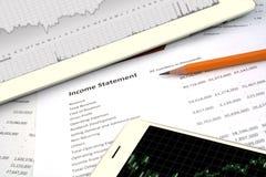 企业平衡,收入报告 库存图片