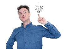 企业想法概念,有一个好想法 背景查出的白色 库存照片