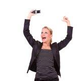 企业愉快的妇女年轻人 免版税库存照片