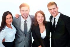 企业愉快的小组 背景查出的白色 库存照片