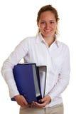 企业愉快的微笑的妇女 免版税库存照片