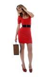 企业愉快的电话妇女 免版税库存图片