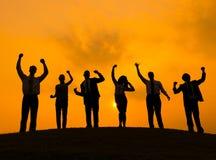 企业成功庆祝快乐的享受概念 库存图片