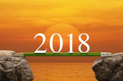 企业成功战略计划概念,新年好2018年cale 免版税库存图片