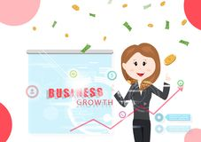 企业成长,女工报告,技术信息,投资,赢利金钱落的成功的传染媒介例证 向量例证