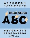 企业手字体 指向手势语 免版税库存图片