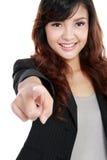 企业手指她的出头的女人 库存图片