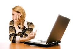 企业手指对妇女的膝上型计算机符号 库存图片