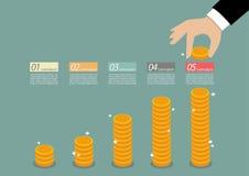 企业手收集infographic的硬币 免版税库存图片