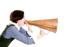 企业扩音机呼喊的妇女 免版税库存图片