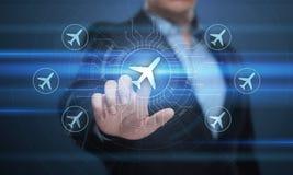 企业技术旅行与飞机的运输概念环球 免版税库存照片